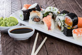 Mixed Sushi on a plate — Stock fotografie