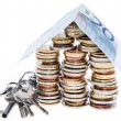 House consisting of Coins on white — Stock Photo