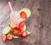 Glass with Strawberry Caipirinha — Stock Photo