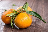Fresh Tangerine on wooden background — Stock Photo