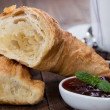 Breakfast with Coffee and Croissant — Stok fotoğraf