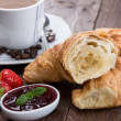 Breakfast with Coffee and Croissant — Stock Photo