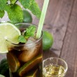 Fresh made Cuba Libre on wood — Stock Photo
