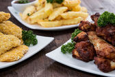 Chicken Pieces and French Fries — Stock Photo
