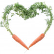 Fresh Carrots shaping Heart — Stock Photo #18112833