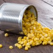 Corn on wooden background — Stock Photo