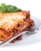 Lasagne on a plate (white background) — Stock Photo