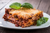 Homemade Lasagne on a plate — Stock Photo