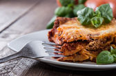 Fresh made Lasagne on a plate — Stock Photo