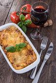 Baking dish with Lasagne — Stock Photo