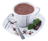 Chocolate caliente aislado en blanco — Foto de Stock