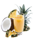 Fresh made Pineapple Juice on white — Stock Photo