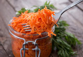 Fork with Carrot Salad — Stock Photo