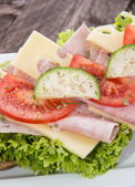 Fresco sanduíche com presunto e queijo — Foto Stock