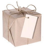 One parcel isolated on white — Stockfoto