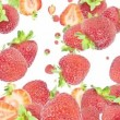 Falling Strawberries as background video — Stock Video