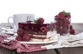 Homemade Raspberry Tart on white — Stock Photo