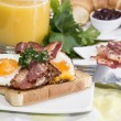 Breakfast with Eggs and Bacon - Stock Photo