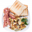 Scrambled Eggs and Bacon on white - Stock Photo