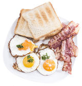 Fried Eggs and Bacon isolated on white — Stock Photo