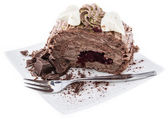Portion of Chocolate Cake on white — Stock Photo