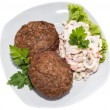 Burgers with Pasta Salad (on white) - Stock Photo