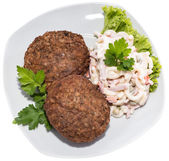 Burgers with Pasta Salad (on white) — Stock Photo