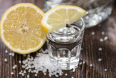 Tequila Silver with lemon — Stock Photo