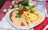Schnitzel with Chips and Sauce — Stok fotoğraf