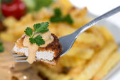 Piece of Cutlet on a fork — Stock Photo