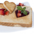 Toast with Hearts on a plate — Stock Photo