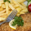 Stock Photo: Wiener Schnitzel with Chips
