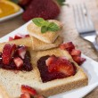 Toast with Strawberry Jam — Stock Photo