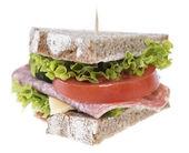 Salami Sandwich isolated on white — Stock Photo
