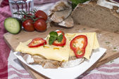 Cheese Sandwich on cutting board — Stockfoto