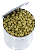 Peas in a Can (on white) — Stock Photo