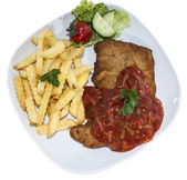 Schnitzel with Sauce (on white) — Stock Photo
