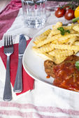 Fresh made Schnitzel with Sauce — Stock Photo