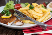 Portion of Schnitzel with Chips — Stock Photo