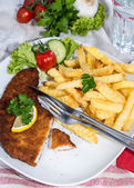 Wiener Schnitzel with Chips — Stock Photo