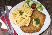 Wiener Schnitzel with Chips — Stock Photo