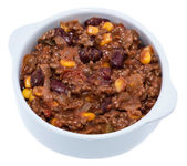 Portion of Chili con Carne on white — Stock Photo