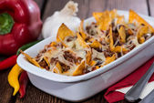 Nacho gratin with Chili con Carne — Stock Photo