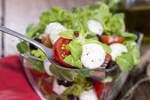 Fresh Salad on a Fork — Stock Photo