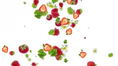 Falling strawberries on white background. Sign heart — Stock Video