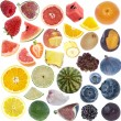 Fruits Collage (icon size) isolated on white — Stock Photo