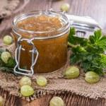 Gooseberry Jam in a glass — Stock Photo