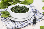 Bowl with cooked Spinach — Stockfoto