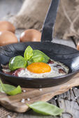 Fried Egg in a Pan — Stock Photo