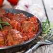 Fresh made Meatballs with Sauce in a pan — Stock Photo